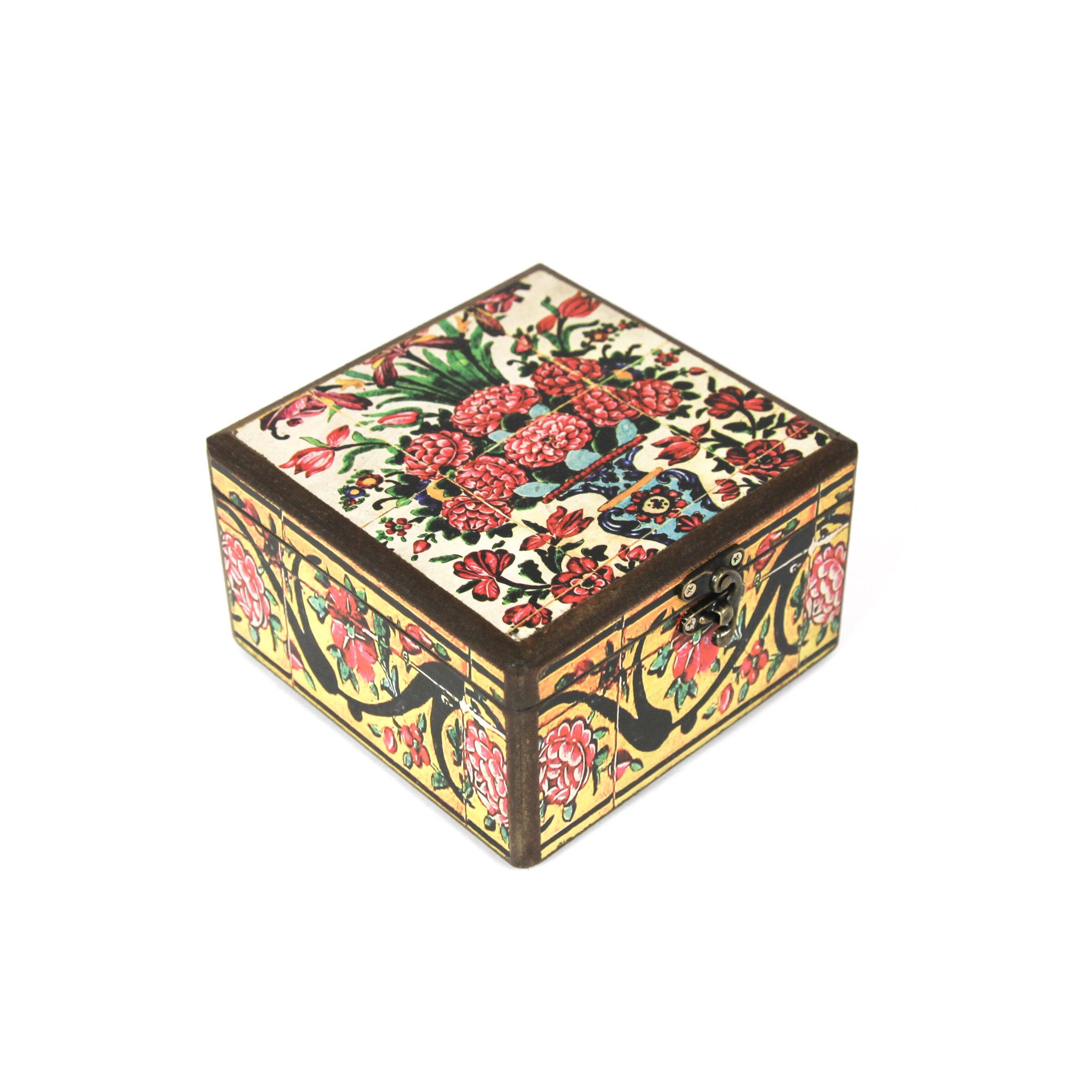 Wooden tea box with Iranian tile patterns code 06 ( available in 3 sizes)