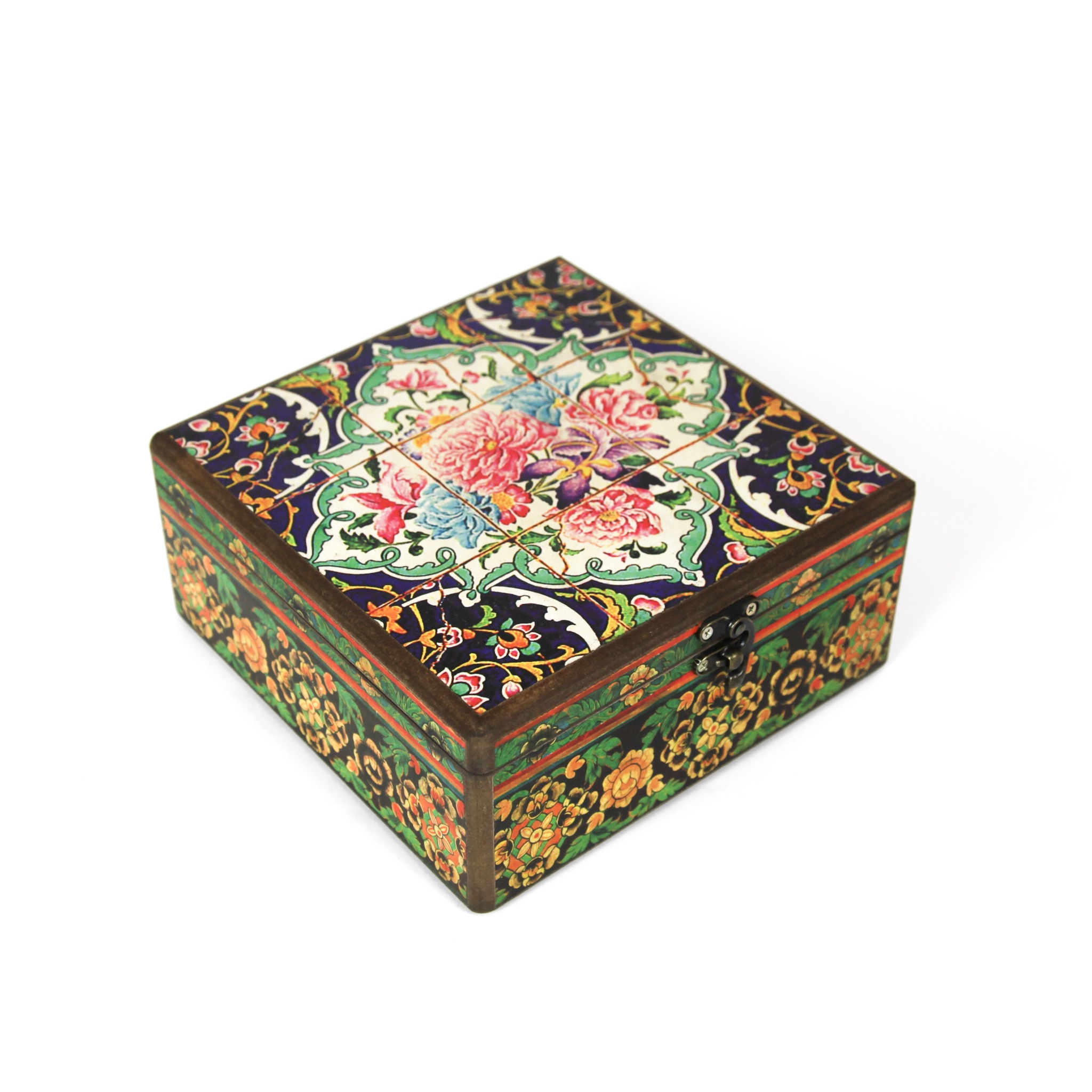 Wooden tea box with Iranian tile patterns 20cm x20cm (code 05)