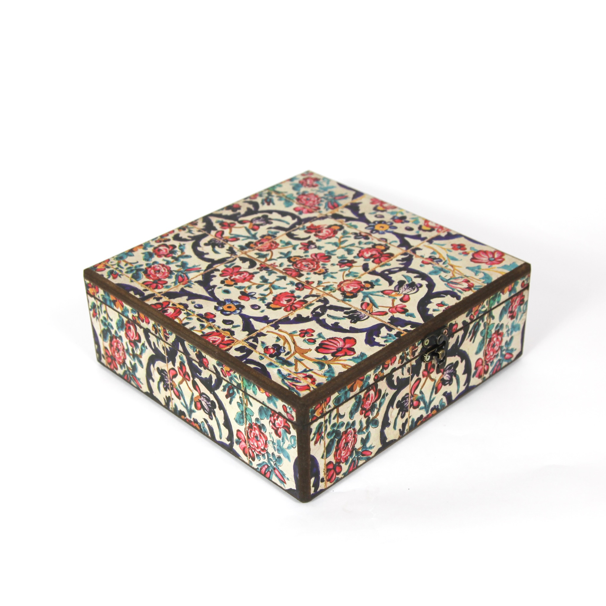Wooden tea box with Iranian tile patterns code 05( available in 3 sizes)