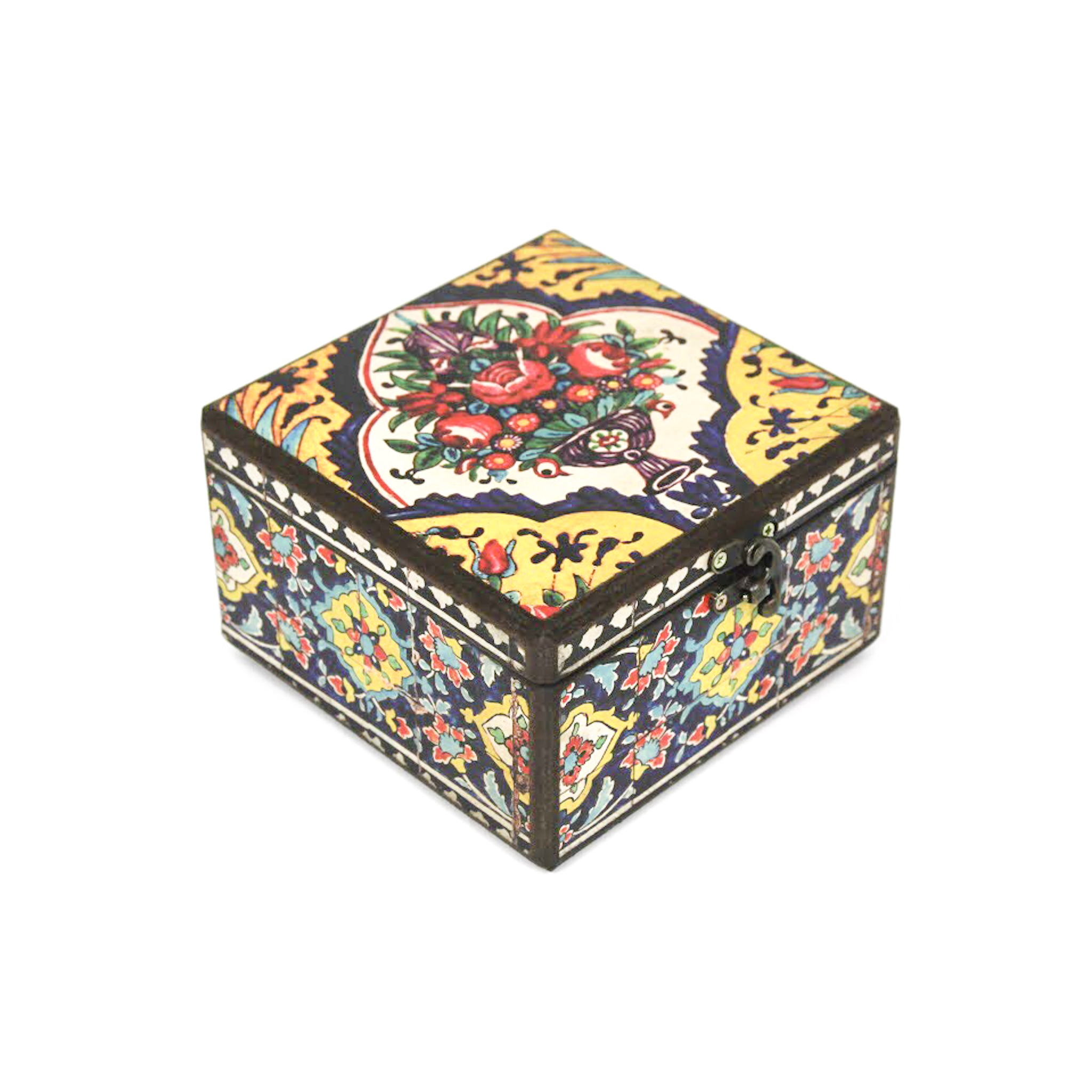 Wooden tea box with Iranian tile patterns code 04 ( available in 3 sizes)