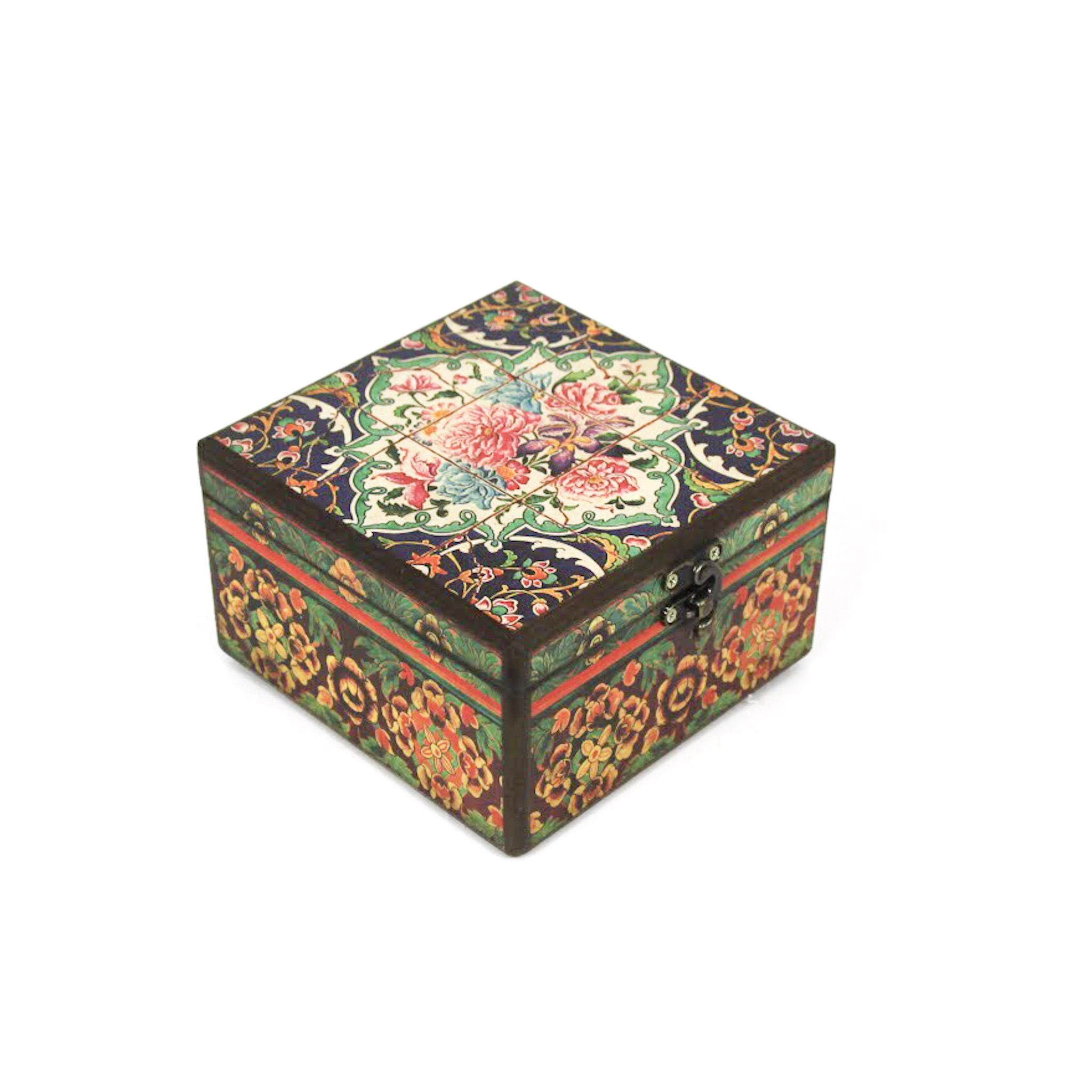 Wooden tea box with Iranian tile patterns 15cm x15cm (code13)