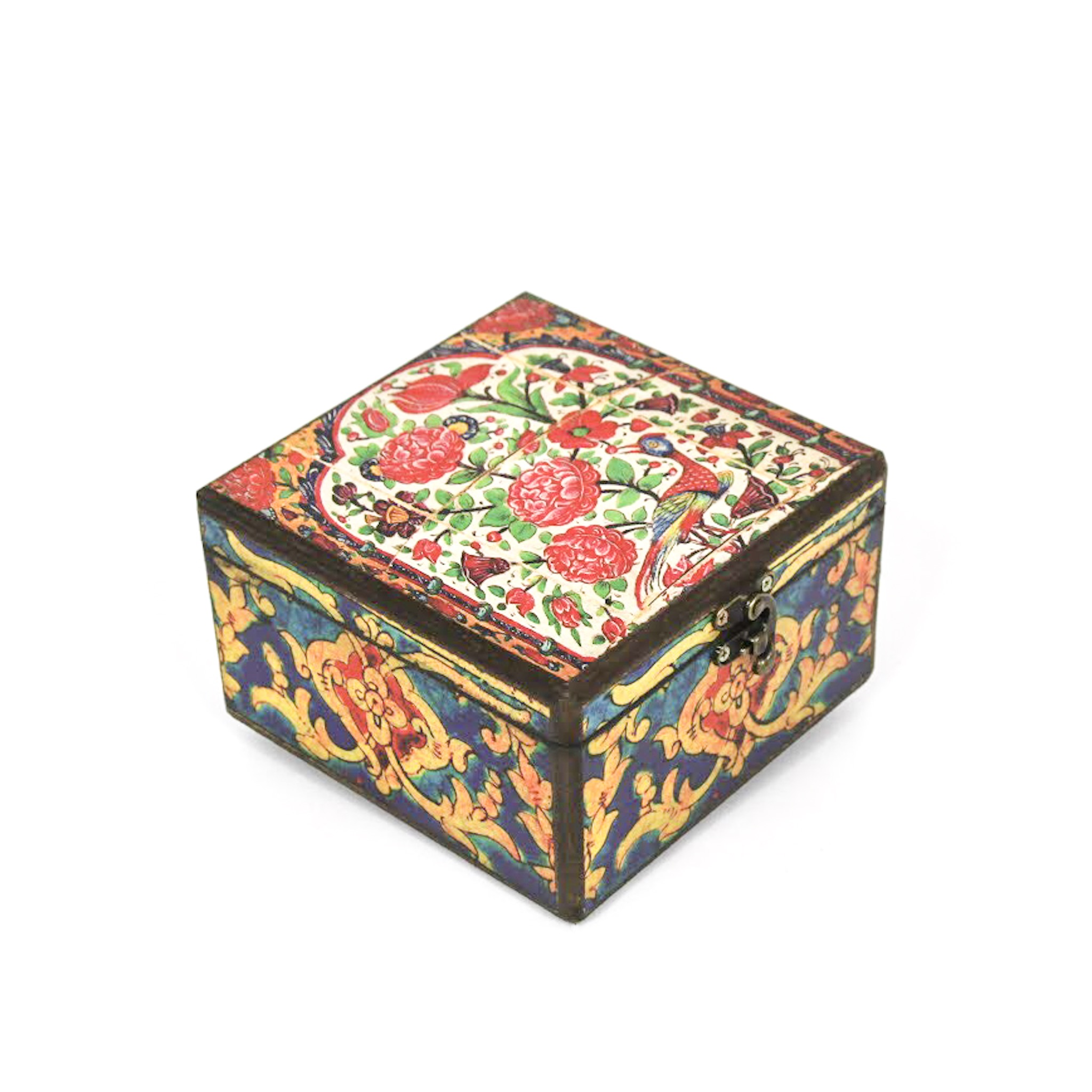 Wooden tea box with Iranian tile patterns code 07 ( available in 3 sizes)
