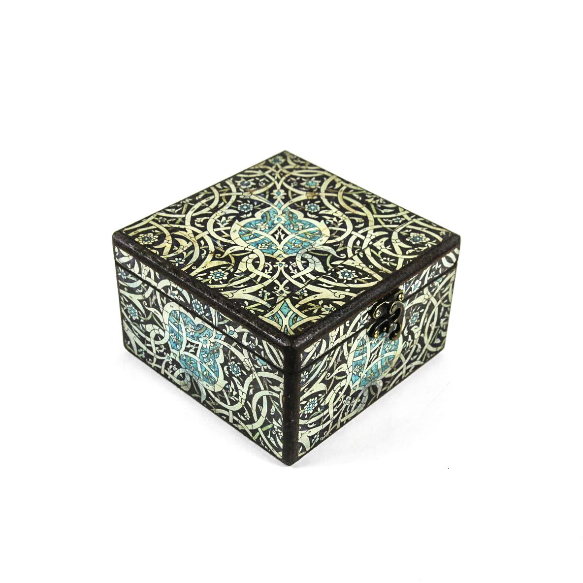 Wooden tea box with Iranian tile patterns code 08 ( available in 3 sizes)