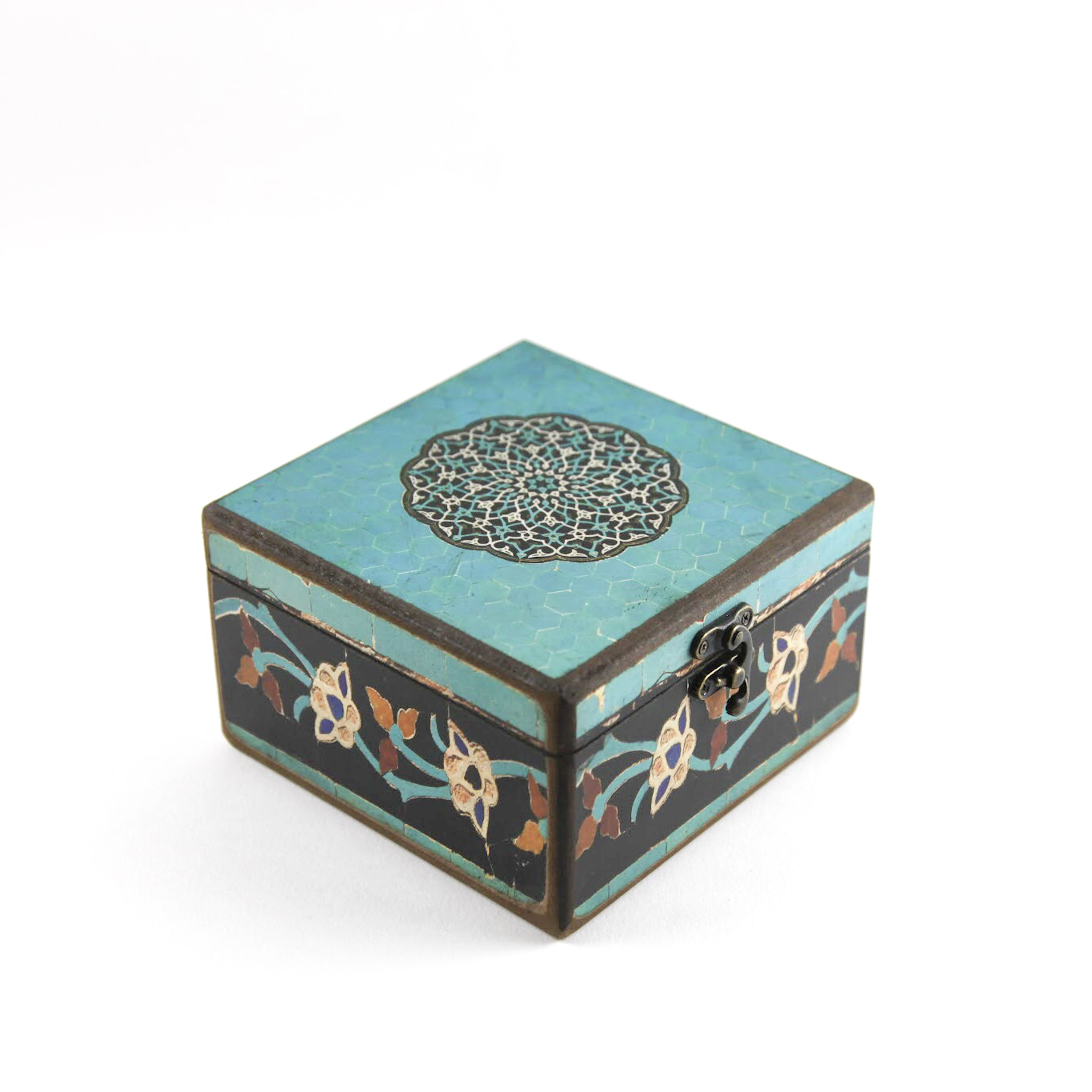 Wooden tea box with Iranian tile patterns code 11 ( available in 3 size)