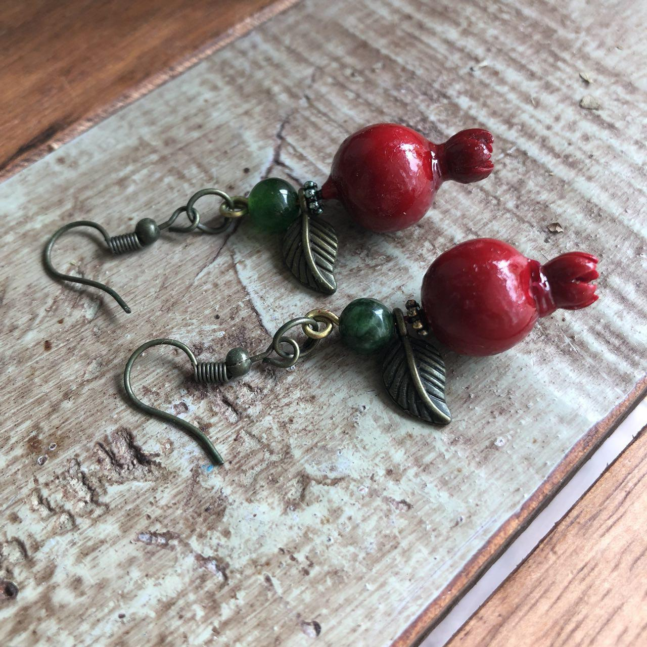 Fakhte handmade pomegranate earrings (wood and brass)