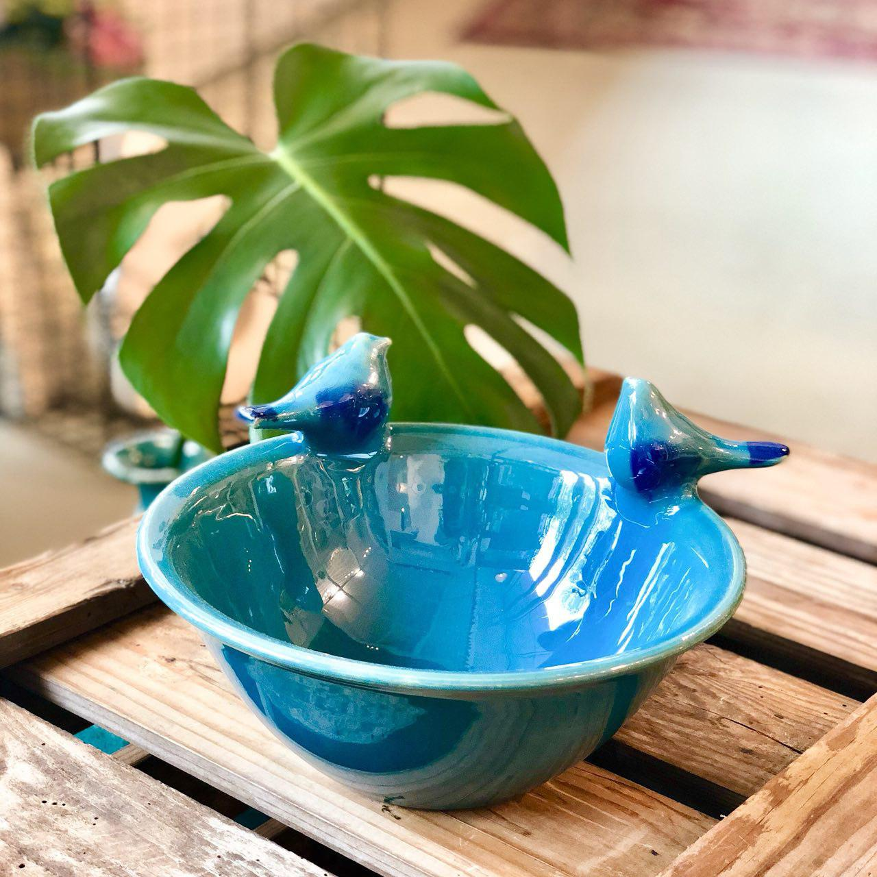 Khakab hanmade ceramic bowl with two birds delwan (available in 2 patterns)