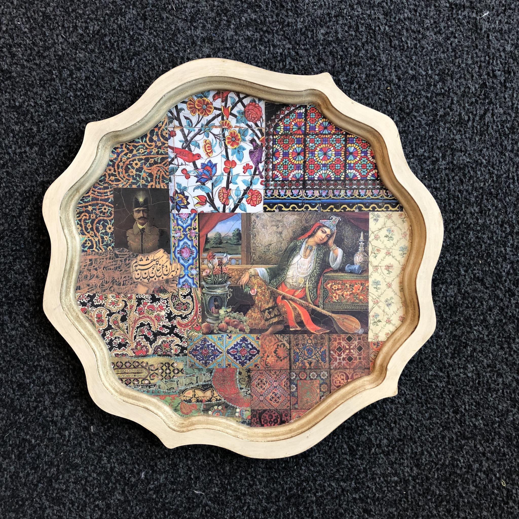 Nabat handmade wooden tray 38 cm sitar