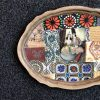 Nabat handmade wooden tray 38 cm x 28 love birds