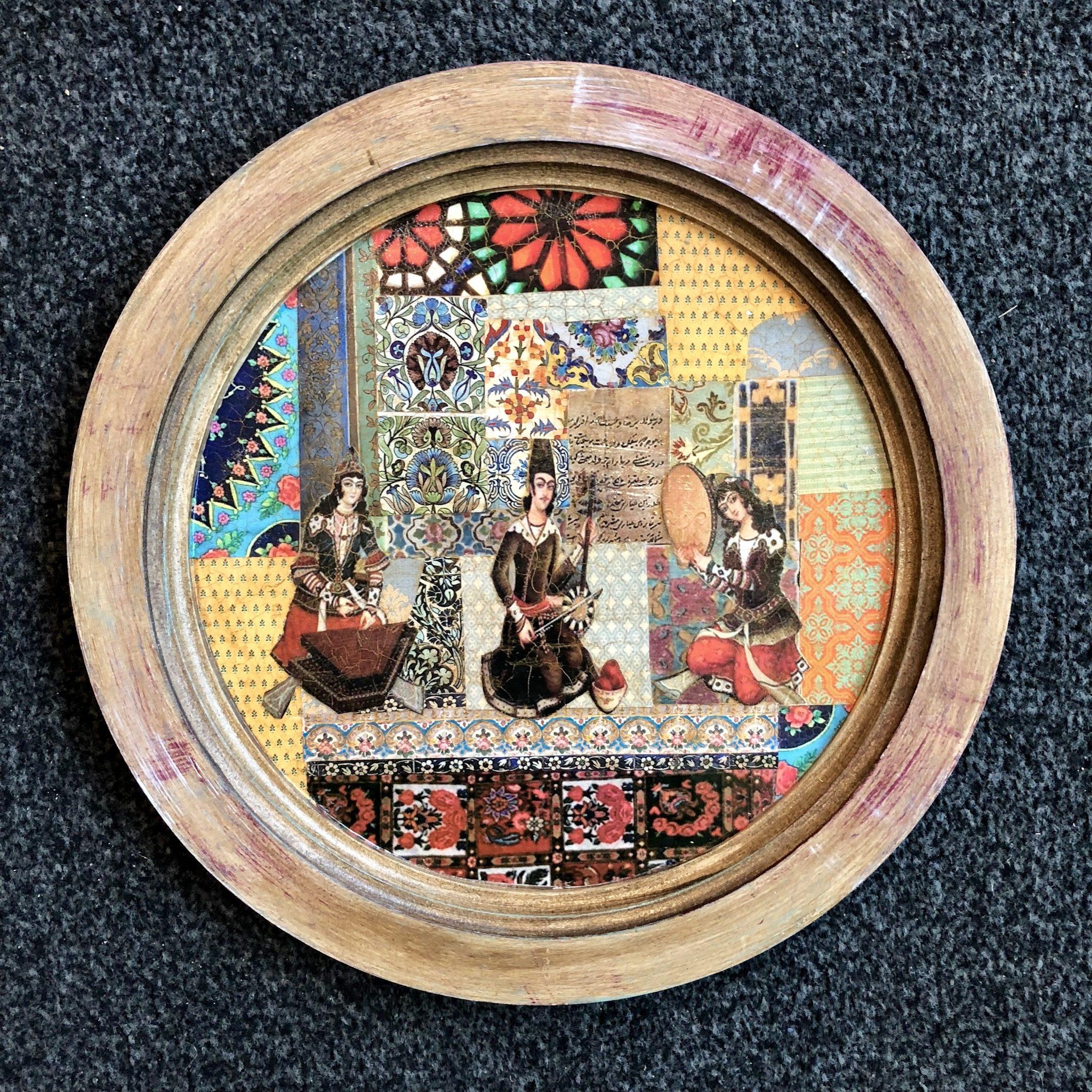 Nabat handmade wooden tray round 35 cm (Code 01)