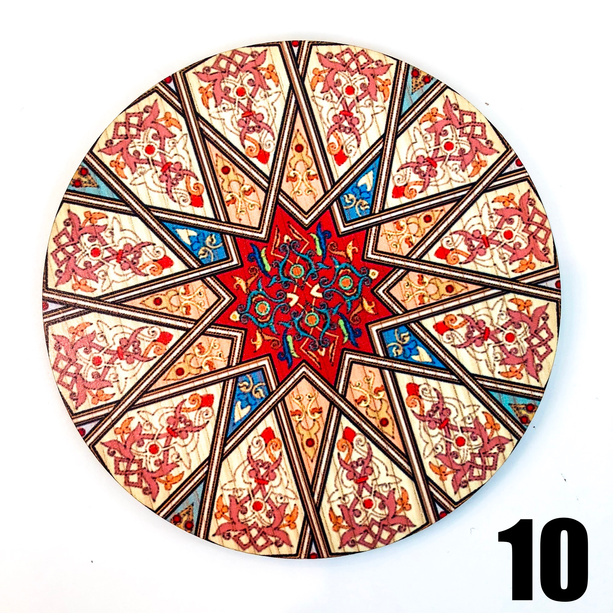 Persian Patterns: Wooden Round Coasters With Persian Patterns ( Available In