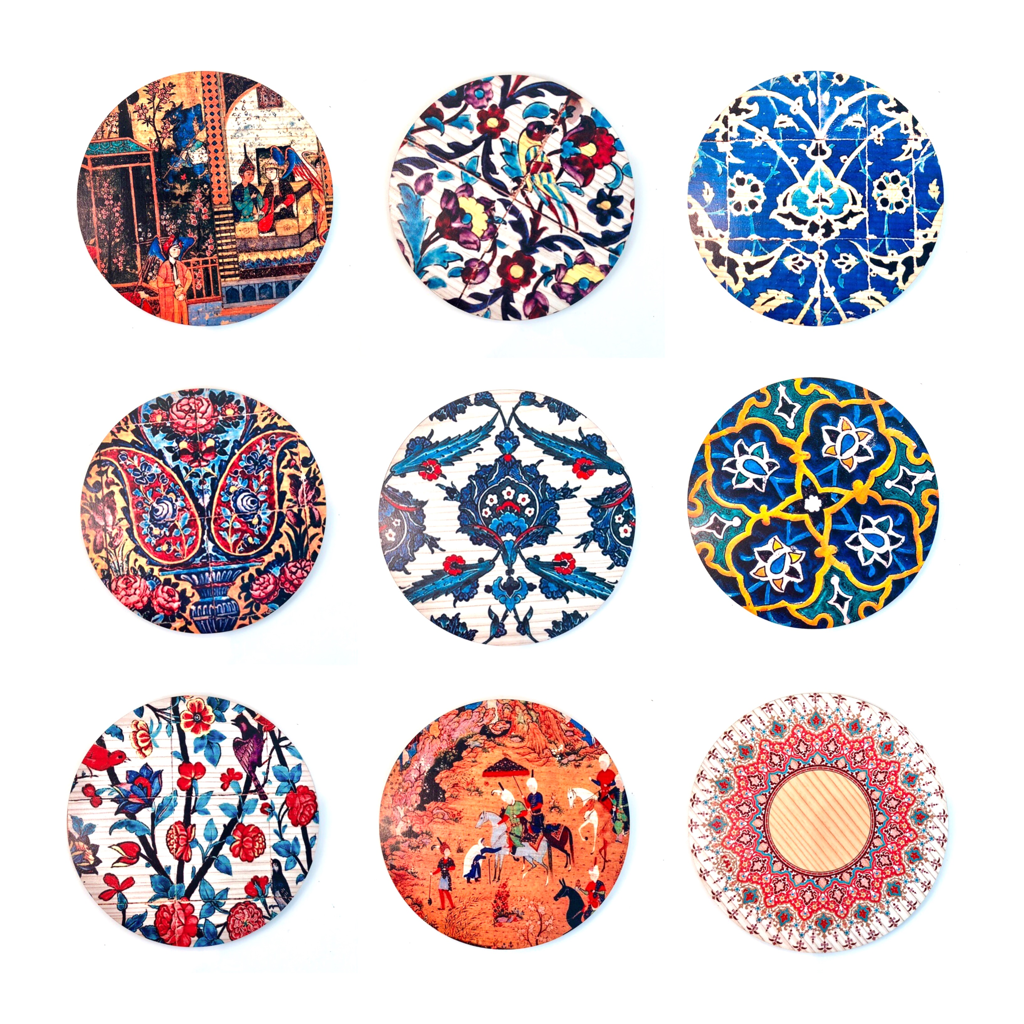 Wooden Round with Persian Patterns ( available in 16 patterns )