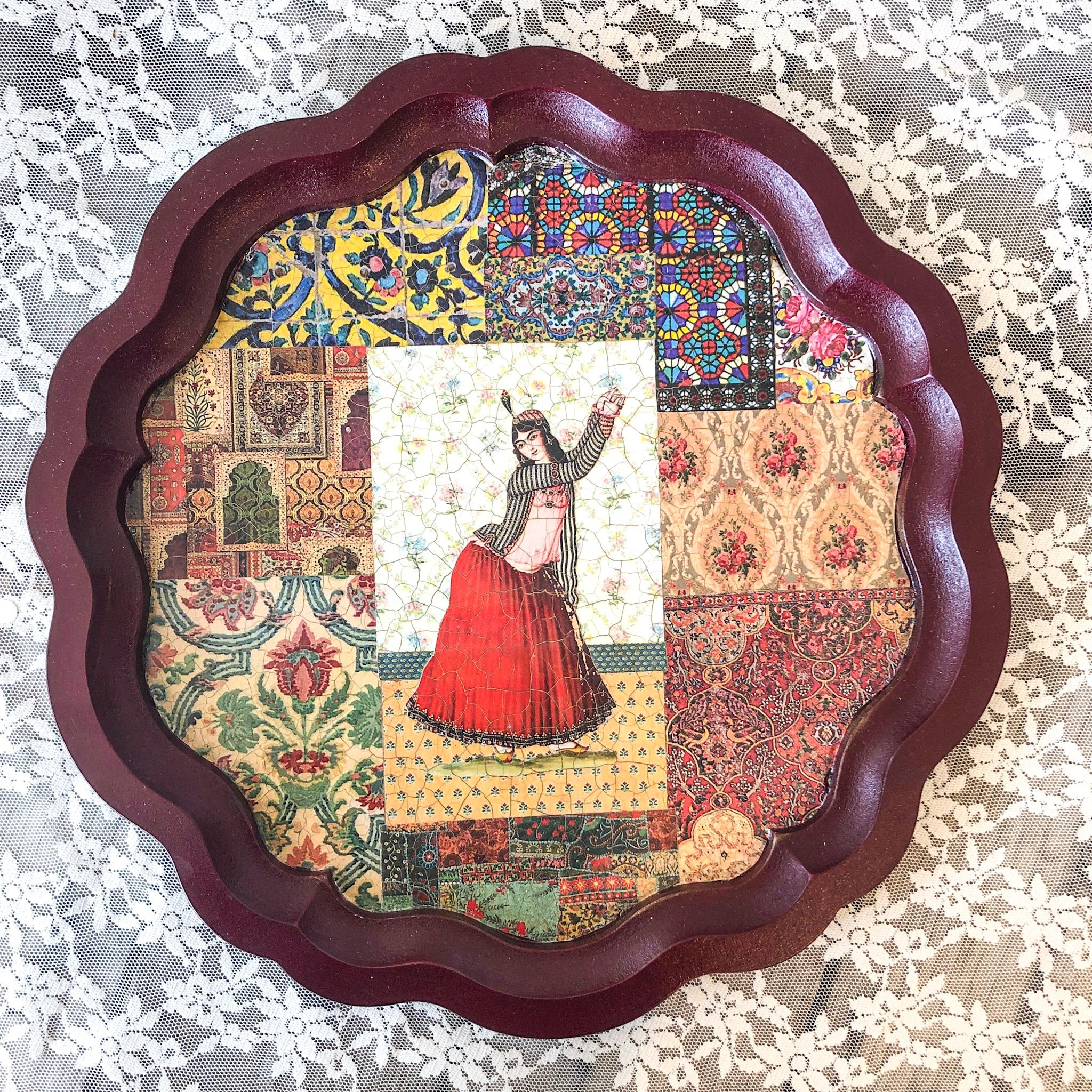 Nabat handmade wooden tray 34 cm raghas