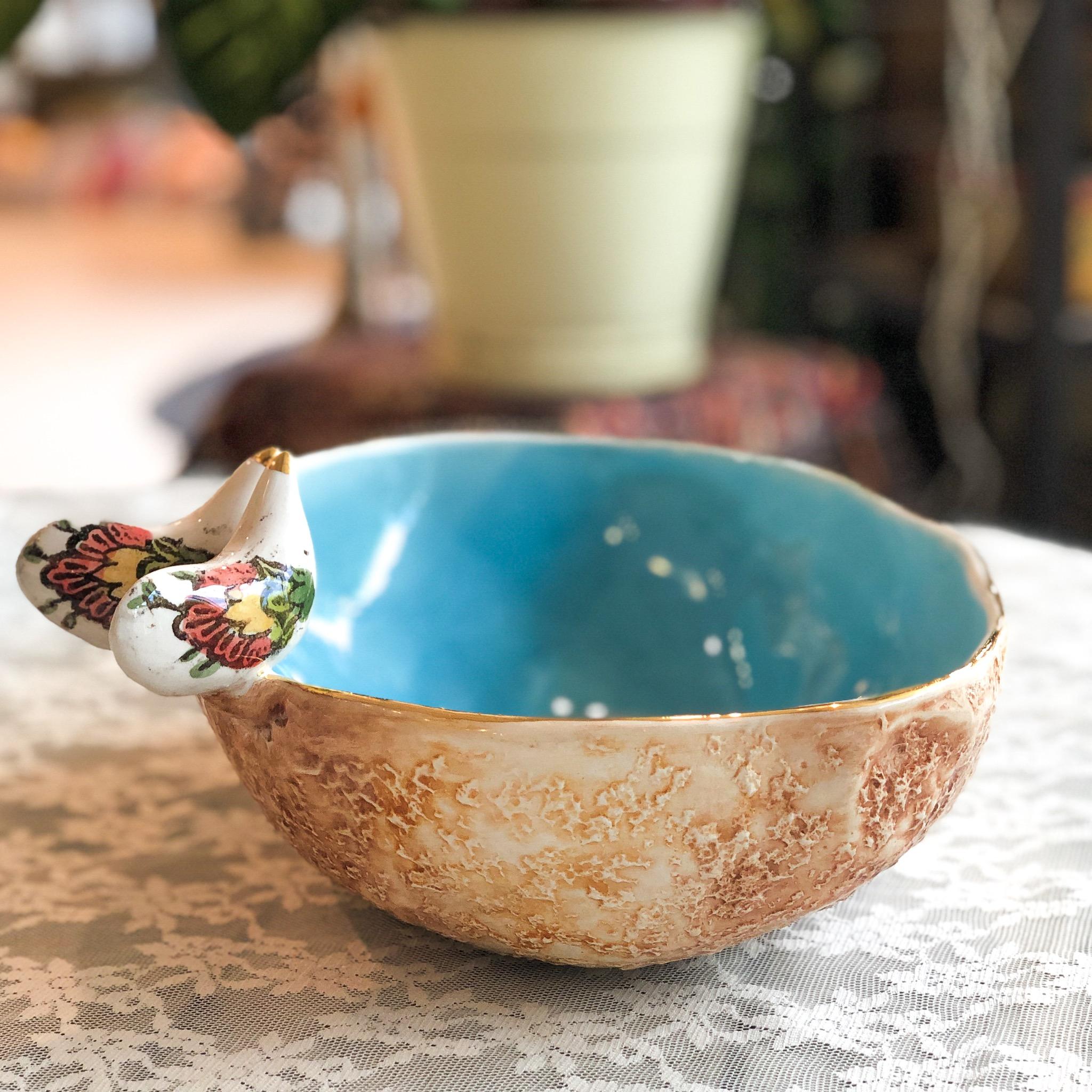 Rastin turquoise bowl with bird 28x220x9 cm