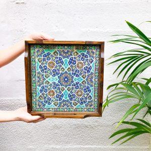 Termeh handmade wooden tray 30 x 30 cm code 07
