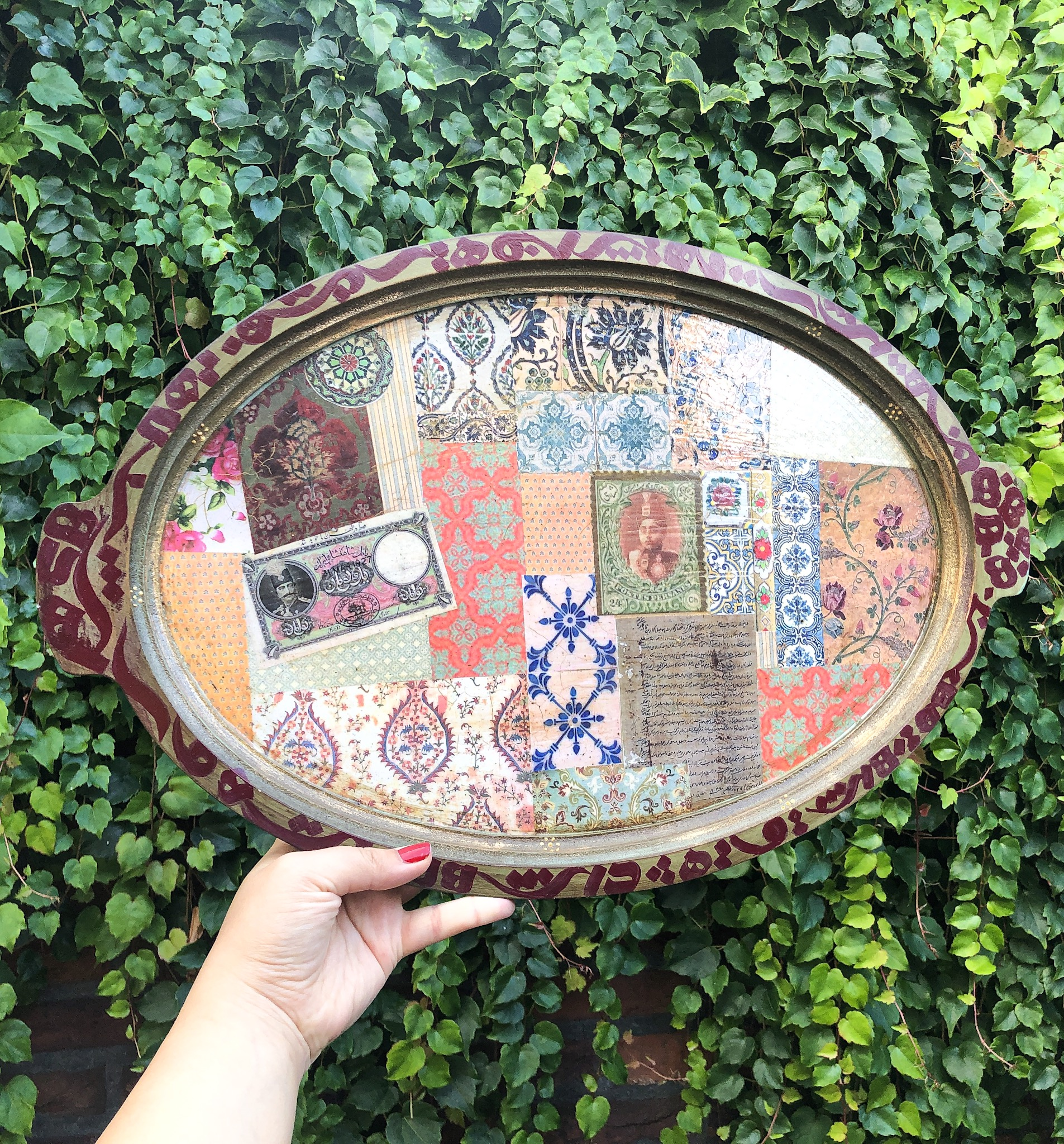 Nabat handmade wooden tray 48cm x 35 cm calligraphy