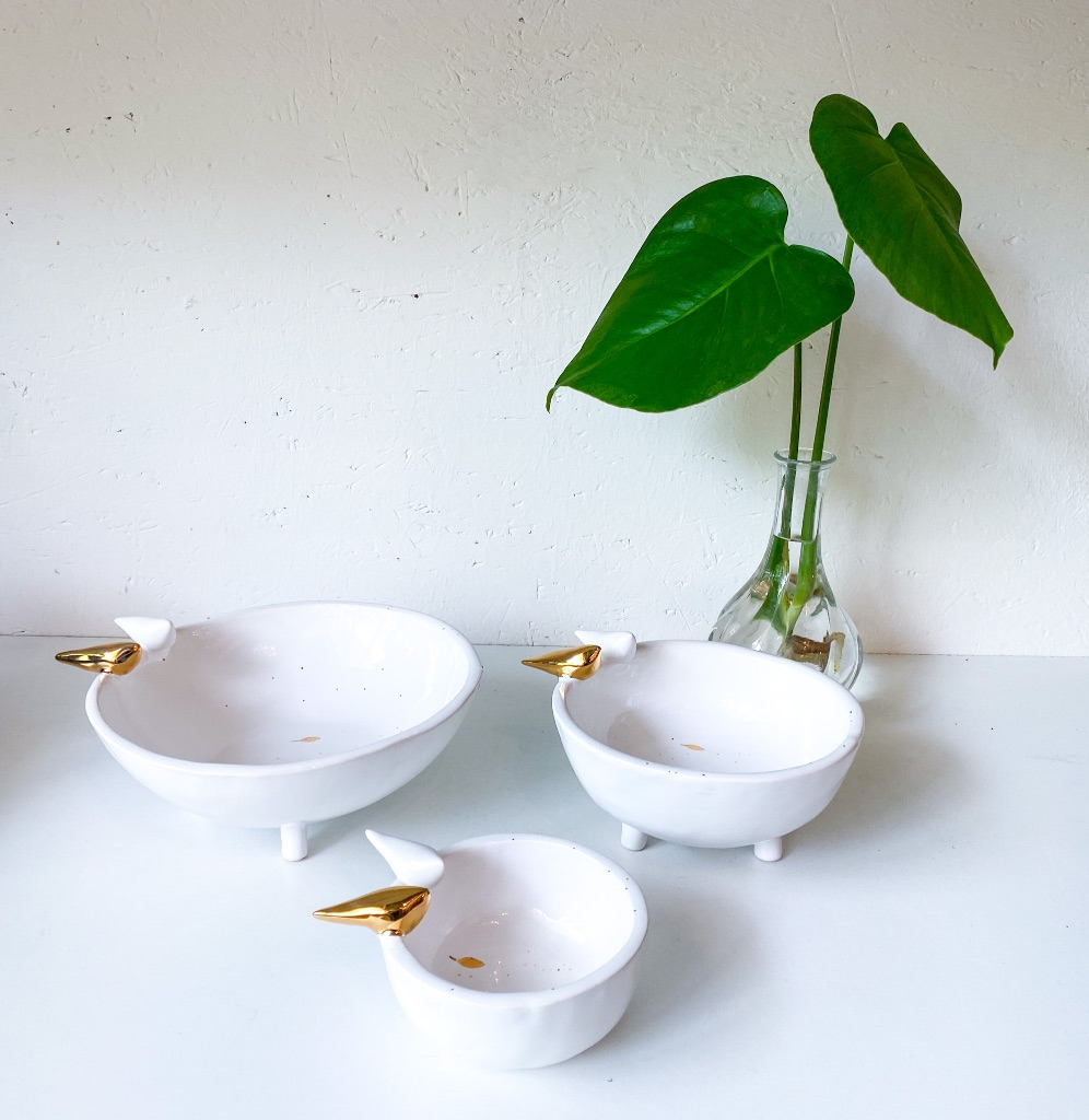 Maan bowls with birds - white ( available in different sizes)