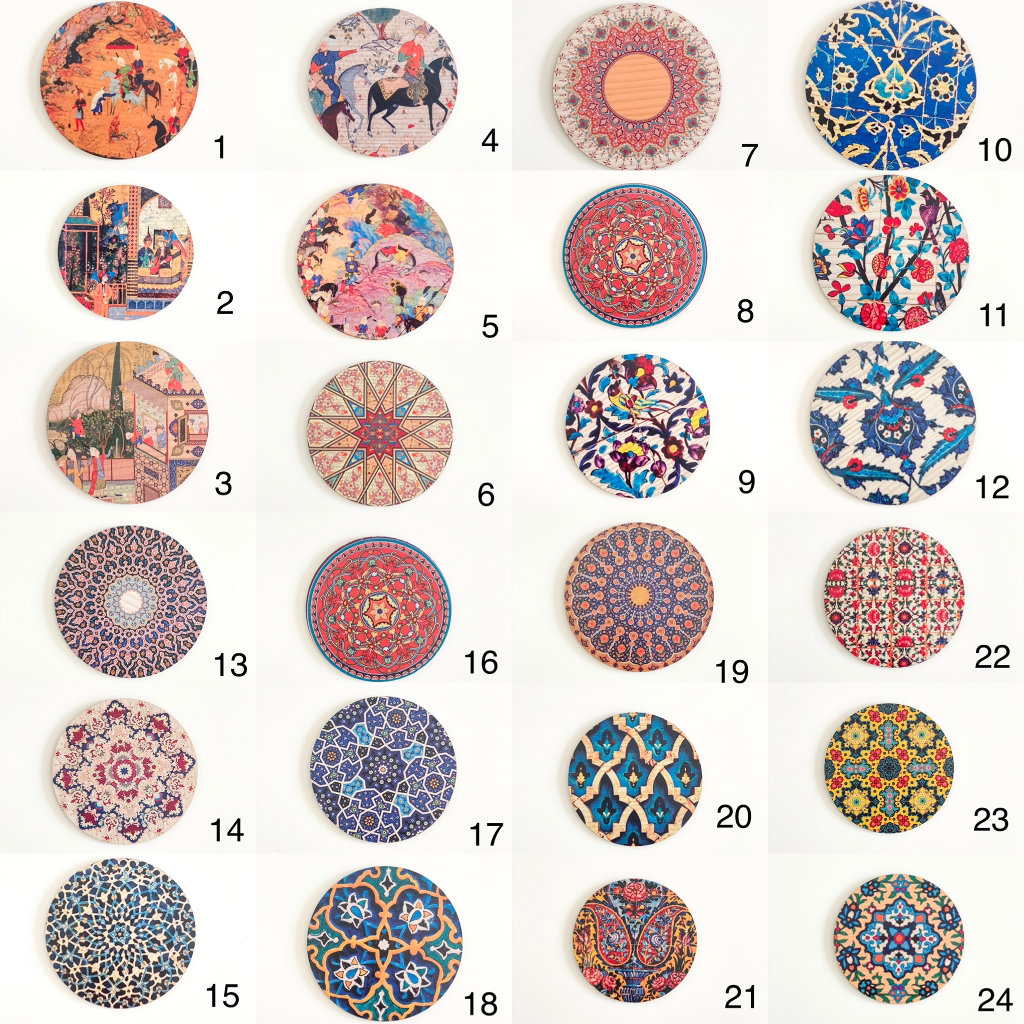 Wooden Round Coasters with Persian Patterns ( available in 24 patterns )